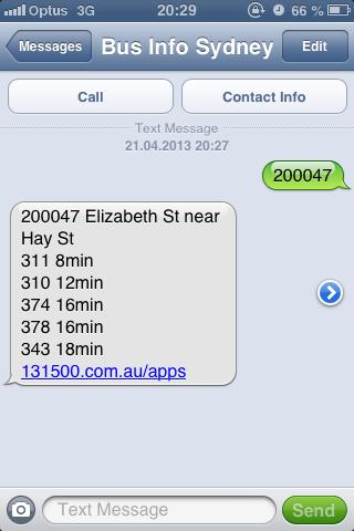 SMS Screenshot einer Busauskunft in Sydney