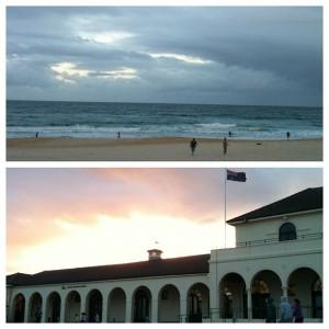 Bondi Beach Sonnenuntergang und Surfer am Strand