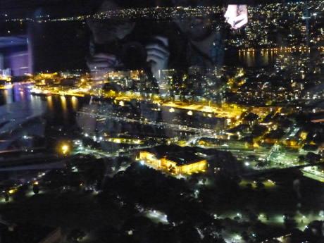 Sydney Tower Aussicht mit Spiegelung der Autoren