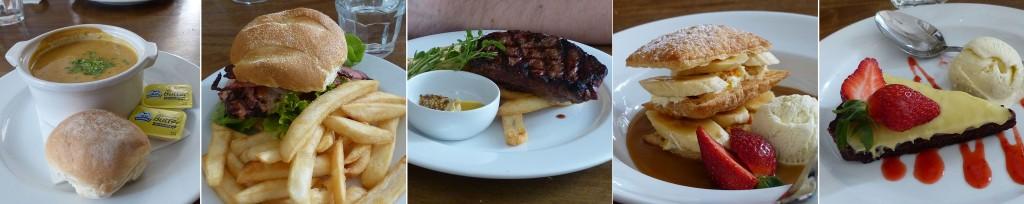 Fotos von der Suppe, den Hauptspeisen und Nachtisch im Blaxland Inn