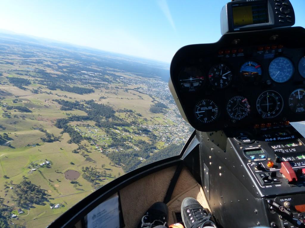 Foto aus dem Helikopter, während des Flugs über das Hunter Valley