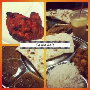 Indisches Essen mit Naan