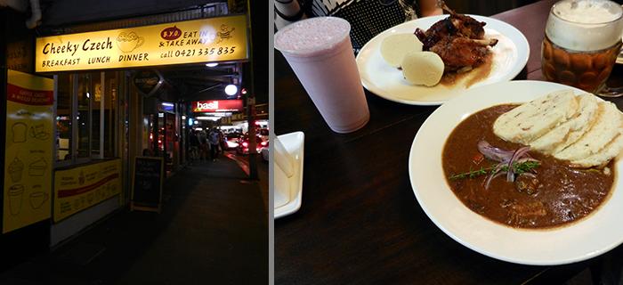 Außenansicht und Foto vom Essen (Gulasch, Ente mit Knödel und Blaukraut, Bier und Milchshake)