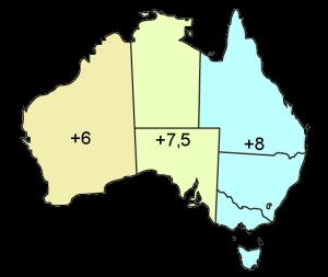Karte Australien Zeitverschiebung zur Sommerzeit