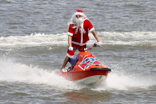 Santa on a jet ski on the Brisbane River