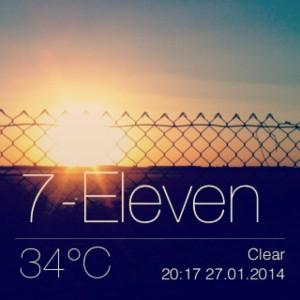 Sonnenuntergang vorm kostenlosen Stellplatz am 7-eleven bei 34°C um 20:17...