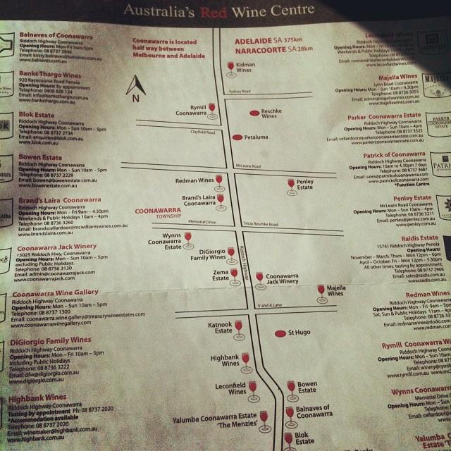 Karte Coonawarra Australiens Rotwein Zentrum, von instagram