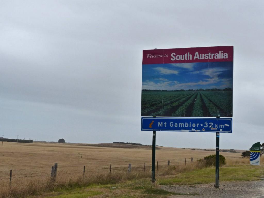 Straßenschild Willkommen in South Australia
